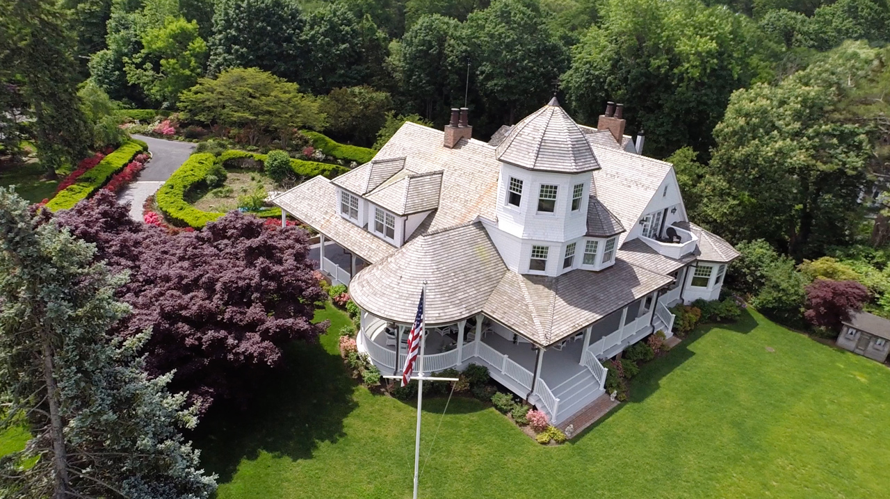 Aerial of Victorian Style Home