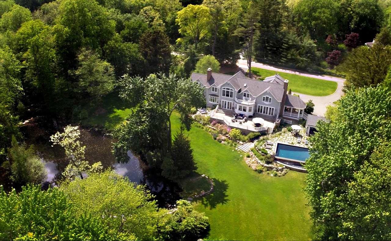 Aerial view of Waterfront home