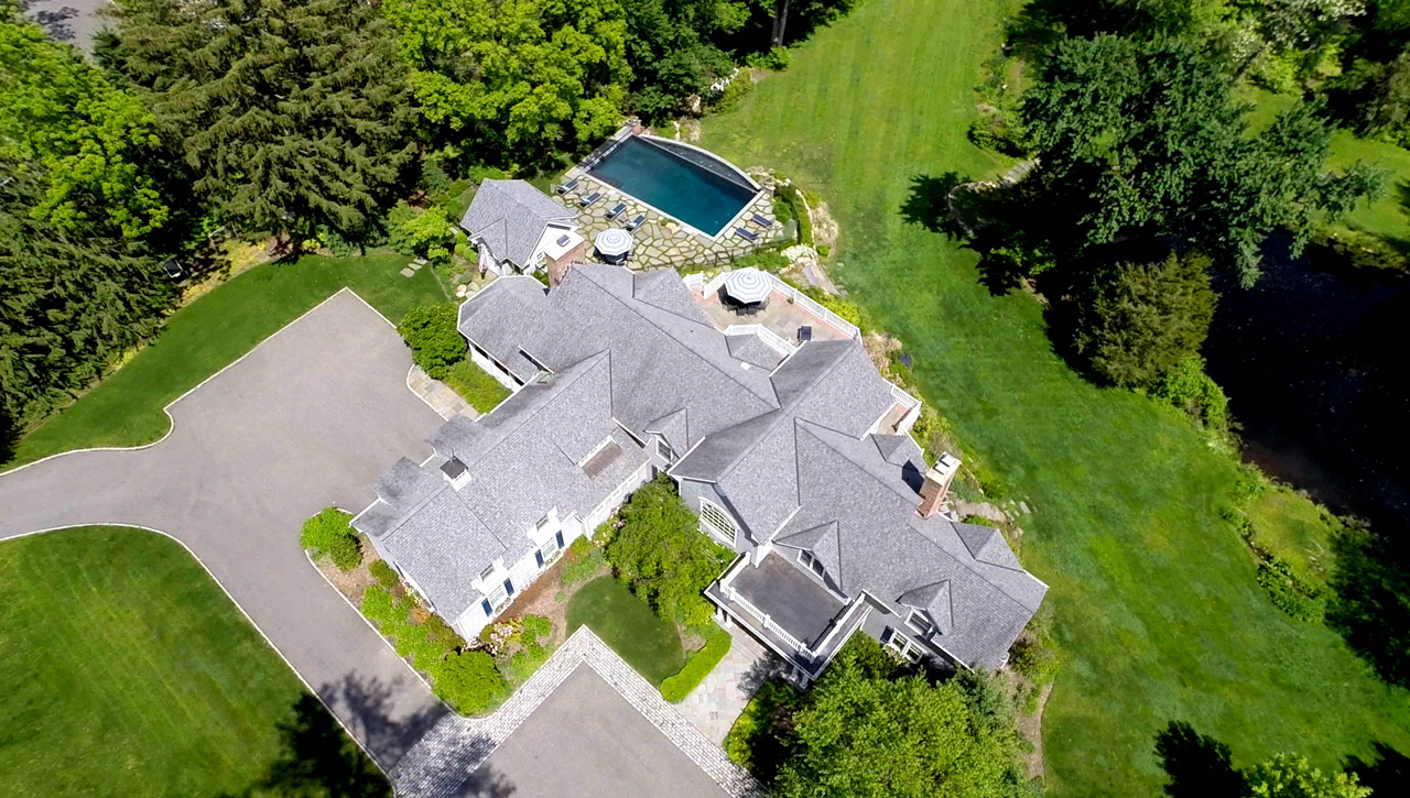 Aerial view of custom home